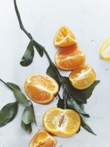 Orange flat lay